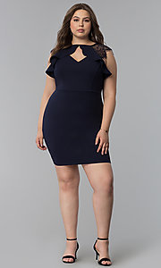 Image of navy blue plus-size lace-cap-sleeve party dress. Style: SY-IXD5723VP Detail Image 3