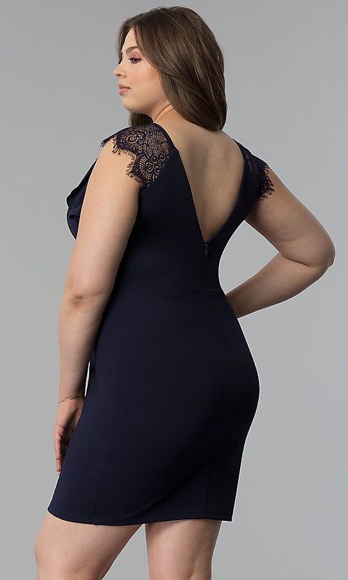 Image of navy blue plus-size lace-cap-sleeve party dress. Style: SY-IXD5723VP Back Image