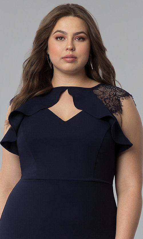 Image of navy blue plus-size lace-cap-sleeve party dress. Style: SY-IXD5723VP Detail Image 1