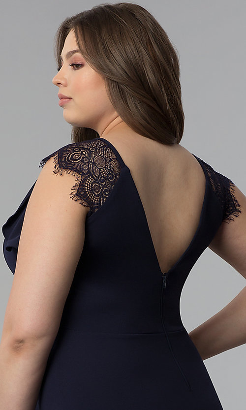 Image of navy blue plus-size lace-cap-sleeve party dress. Style: SY-IXD5723VP Detail Image 2