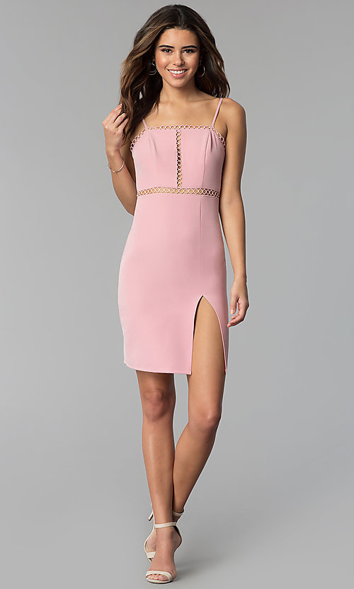 Image of short pink party dress with circle-lace trim. Style: BLU-IBD8904 Detail Image 3
