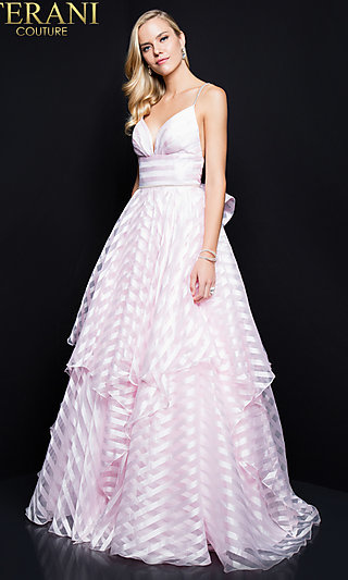 Terani Striped A-Line Prom Dress with an Open Back