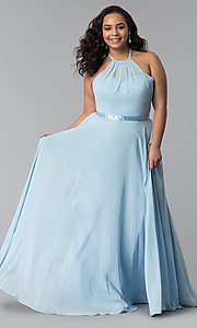 Image of long chiffon plus-size formal dress with ribbon belt. Style: DQ-2176P Detail Image 5