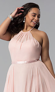 Image of long chiffon plus-size formal dress with ribbon belt. Style: DQ-2176P Detail Image 8