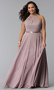Image of long chiffon plus-size formal dress with ribbon belt. Style: DQ-2176P Front Image