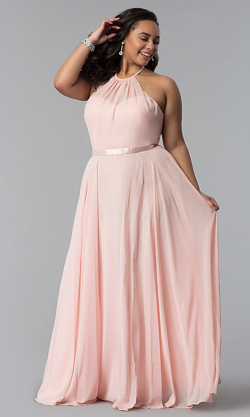 Image of long chiffon plus-size formal dress with ribbon belt. Style: DQ-2176P Detail Image 7