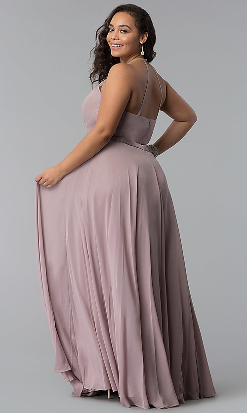 Image of long chiffon plus-size formal dress with ribbon belt. Style: DQ-2176P Back Image