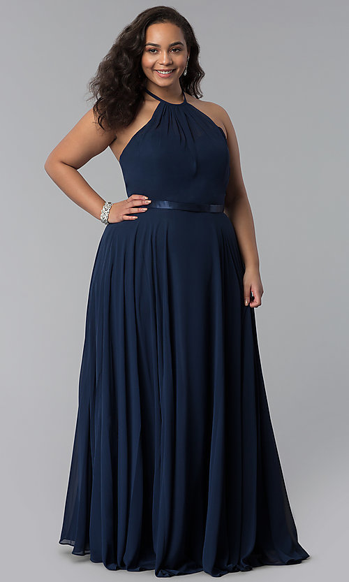 Image of long chiffon plus-size formal dress with ribbon belt. Style: DQ-2176P Detail Image 3