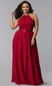 Image of plus-size long burgundy chiffon formal dress. Style: DQ-2176Pb Front Image