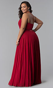 Image of plus-size long burgundy chiffon formal dress. Style: DQ-2176Pb Back Image