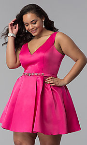 Image of plus-size short satin prom dress with rhinestones. Style: DQ-9514P Front Image