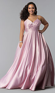 Image of long plus-size a-line v-neck sateen prom dress. Style: DQ-2339P Detail Image 2