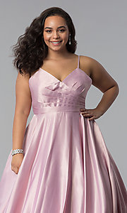 Image of long plus-size a-line v-neck sateen prom dress. Style: DQ-2339P Detail Image 5