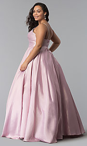 Image of long plus-size a-line v-neck sateen prom dress. Style: DQ-2339P Detail Image 4