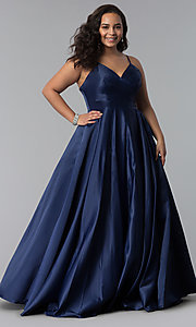 Image of long plus-size a-line v-neck sateen prom dress. Style: DQ-2339P Front Image