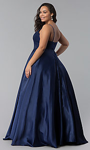 Image of long plus-size a-line v-neck sateen prom dress. Style: DQ-2339P Back Image