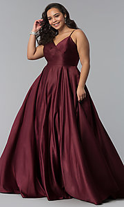Image of long plus-size a-line v-neck sateen prom dress. Style: DQ-2339P Detail Image 3