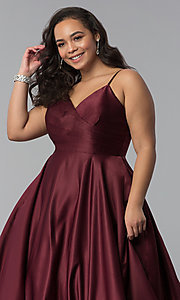 Image of long plus-size a-line v-neck sateen prom dress. Style: DQ-2339P Detail Image 1