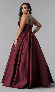 Image of long plus-size a-line v-neck sateen prom dress. Style: DQ-2339P Detail Image 7