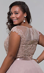 Image of lace-bodice plus-size short mocha homecoming dress. Style: DQ-2175P Detail Image 2