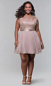 Image of lace-bodice plus-size short mocha homecoming dress. Style: DQ-2175P Detail Image 3