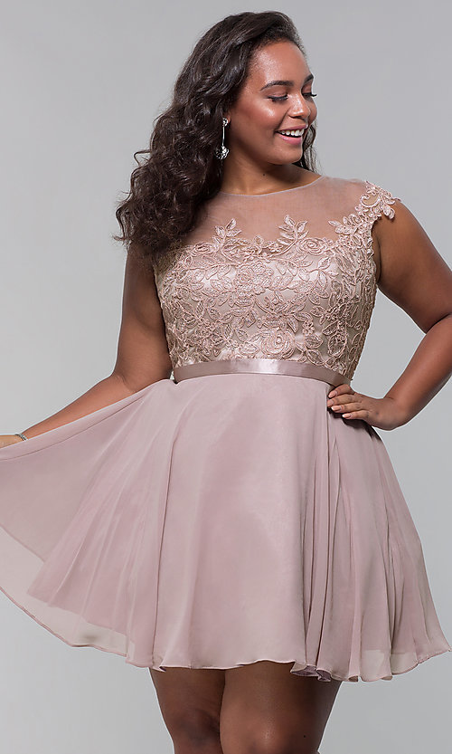 Image of lace-bodice plus-size short mocha homecoming dress. Style: DQ-2175P Front Image