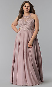 Image of plus-size embroidered-lace-bodice prom dress. Style: DQ-2017P Detail Image 2