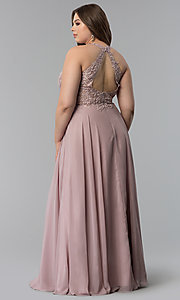 Image of plus-size embroidered-lace-bodice prom dress. Style: DQ-2017P Detail Image 3