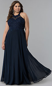Image of plus-size embroidered-lace-bodice prom dress. Style: DQ-2017P Front Image