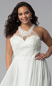 Image of plus-size embroidered-lace-bodice prom dress. Style: DQ-2017P Detail Image 1