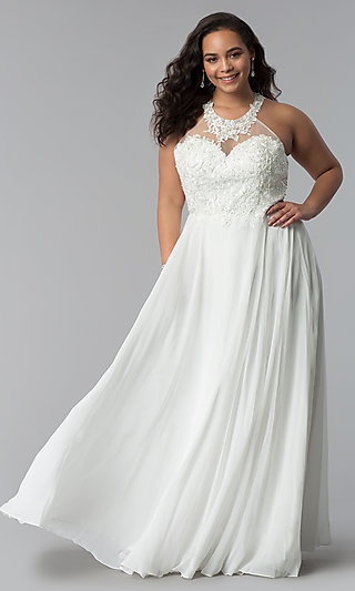 Plus-Size Embroidered-Lace-Bodice Prom Dress