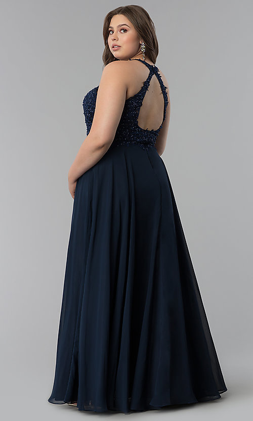 Image of plus-size embroidered-lace-bodice prom dress. Style: DQ-2017P Back Image