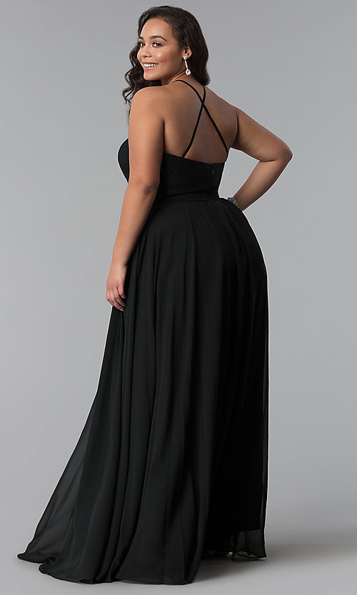 Image of lace-bodice long plus-size chiffon prom dress. Style: DQ-2009P Detail Image 3