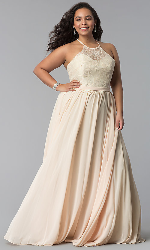 51199231a5a Image of lace-bodice long plus-size chiffon prom dress. Style  DQ