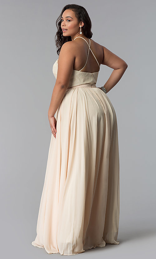 Image of lace-bodice long plus-size chiffon prom dress. Style: DQ-2009P Back Image