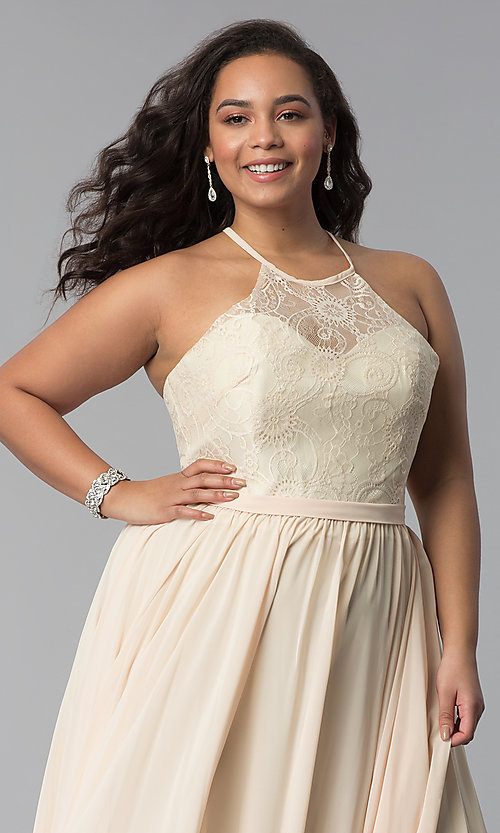 Image of lace-bodice long plus-size chiffon prom dress. Style: DQ-2009P Detail Image 1