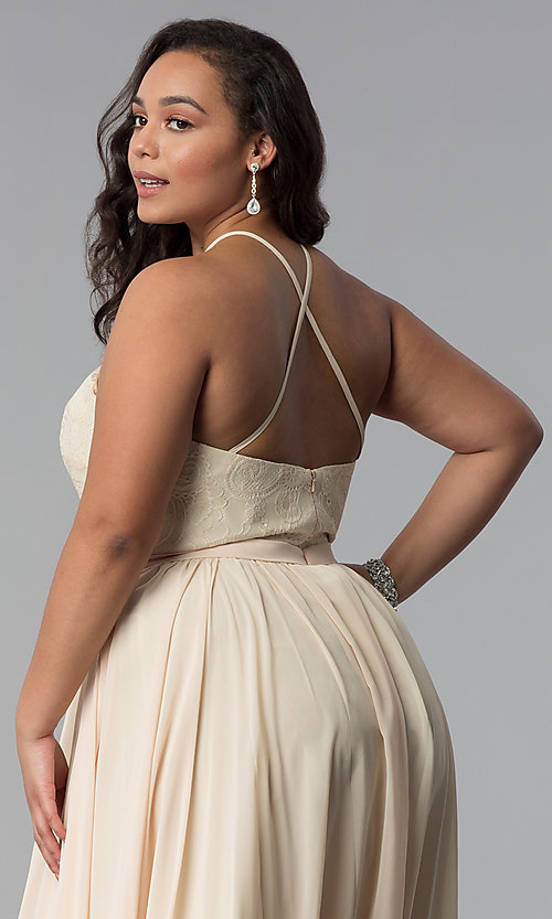 Image of lace-bodice long plus-size chiffon prom dress. Style: DQ-2009P Detail Image 2