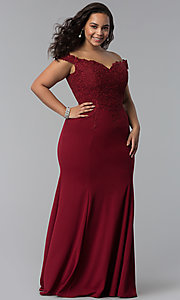 Image of long plus-size off-shoulder lace-bodice prom dress. Style: DQ-2358P Detail Image 3