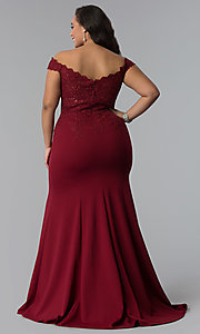 Image of long plus-size off-shoulder lace-bodice prom dress. Style: DQ-2358P Detail Image 4