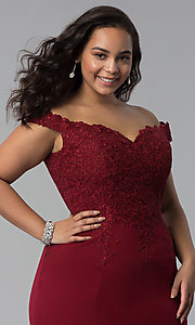 Image of long plus-size off-shoulder lace-bodice prom dress. Style: DQ-2358P Detail Image 5
