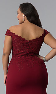 Image of long plus-size off-shoulder lace-bodice prom dress. Style: DQ-2358P Detail Image 6