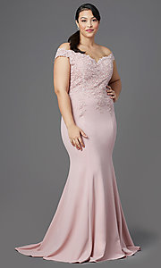Image of long plus-size off-shoulder lace-bodice prom dress. Style: DQ-2358P Front Image