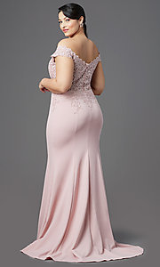 Image of long plus-size off-shoulder lace-bodice prom dress. Style: DQ-2358P Back Image