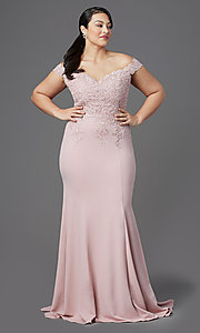 Image of long plus-size off-shoulder lace-bodice prom dress. Style: DQ-2358P Detail Image 2