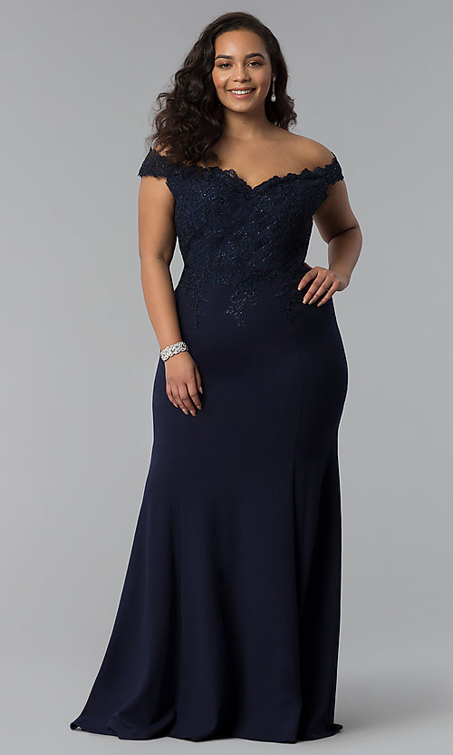 Image of long plus-size off-shoulder lace-bodice prom dress. Style: DQ-2358P Detail Image 7