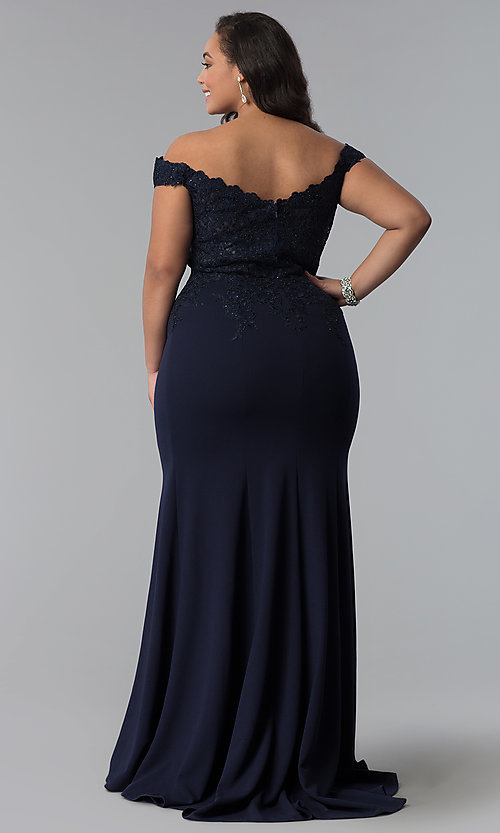 Image of long plus-size off-shoulder lace-bodice prom dress. Style: DQ-2358P Detail Image 8