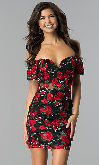Embroidered Short Off-the-Shoulder Black Party Dress
