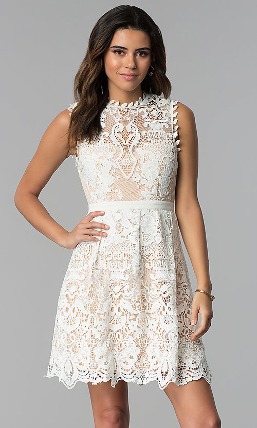 a6547be13d15 Image of nude-lined short white lace graduation party dress. Style  MT-