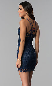 Image of navy blue short floral-lace wedding guest dress. Style: MT-9034 Back Image
