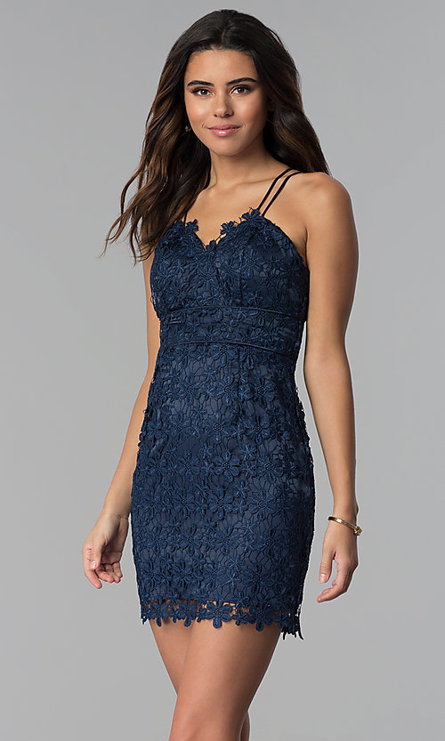 Image of navy blue short floral-lace wedding guest dress. Style: MT-9034 Front Image